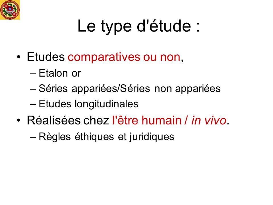 Le type d étude : Etudes comparatives ou non,