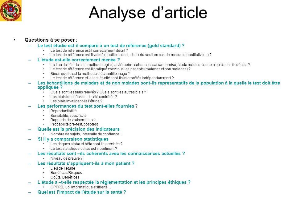 Analyse d'article Questions à se poser :
