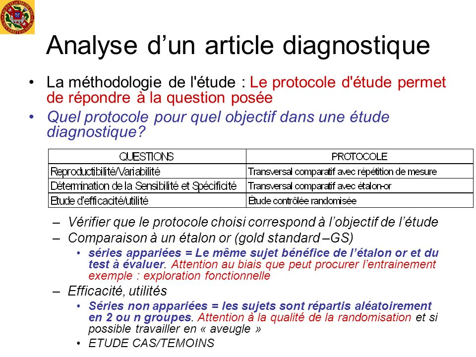 Analyse d'un article diagnostique