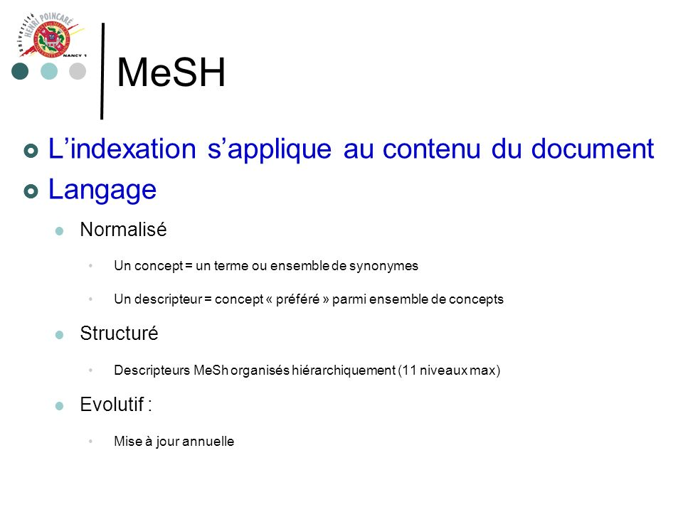 MeSH L'indexation s'applique au contenu du document Langage Normalisé