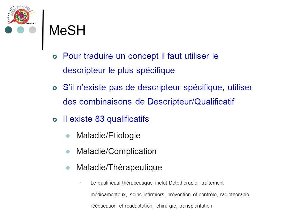 MeSH Pour traduire un concept il faut utiliser le descripteur le plus spécifique.