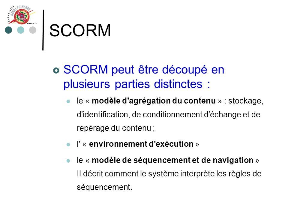 SCORM SCORM peut être découpé en plusieurs parties distinctes :