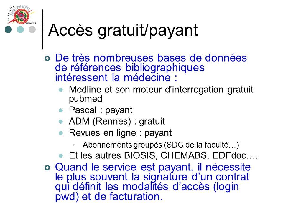 Accès gratuit/payant De très nombreuses bases de données de références bibliographiques intéressent la médecine :