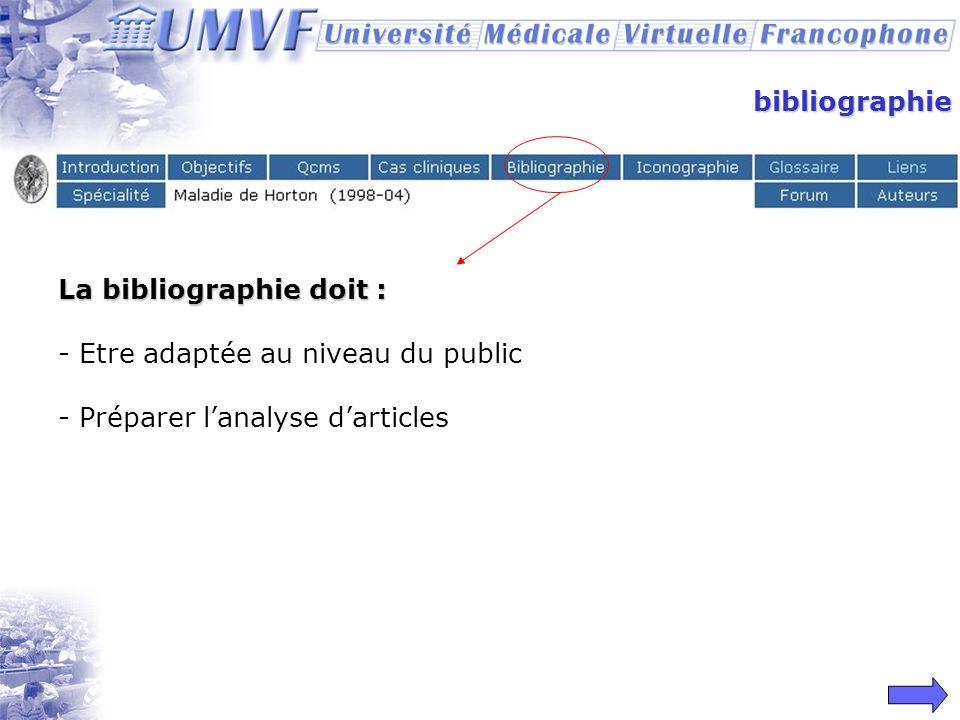 bibliographieLa bibliographie doit : Etre adaptée au niveau du public.