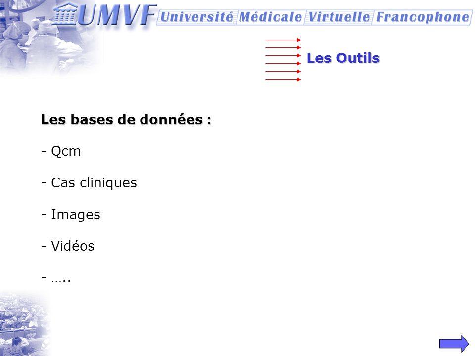 Les Outils Les bases de données : Qcm Cas cliniques Images Vidéos …..