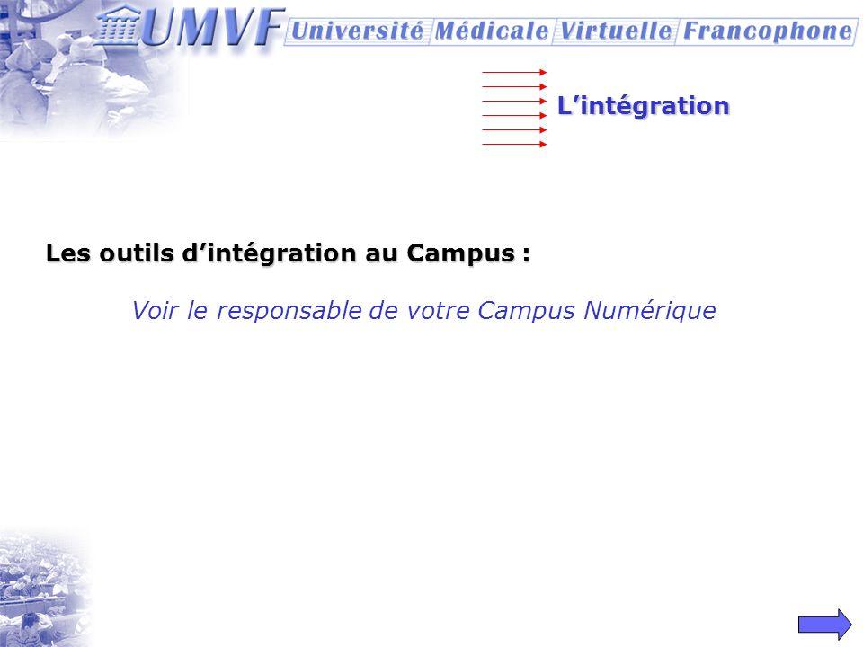L'intégration Les outils d'intégration au Campus : Voir le responsable de votre Campus Numérique
