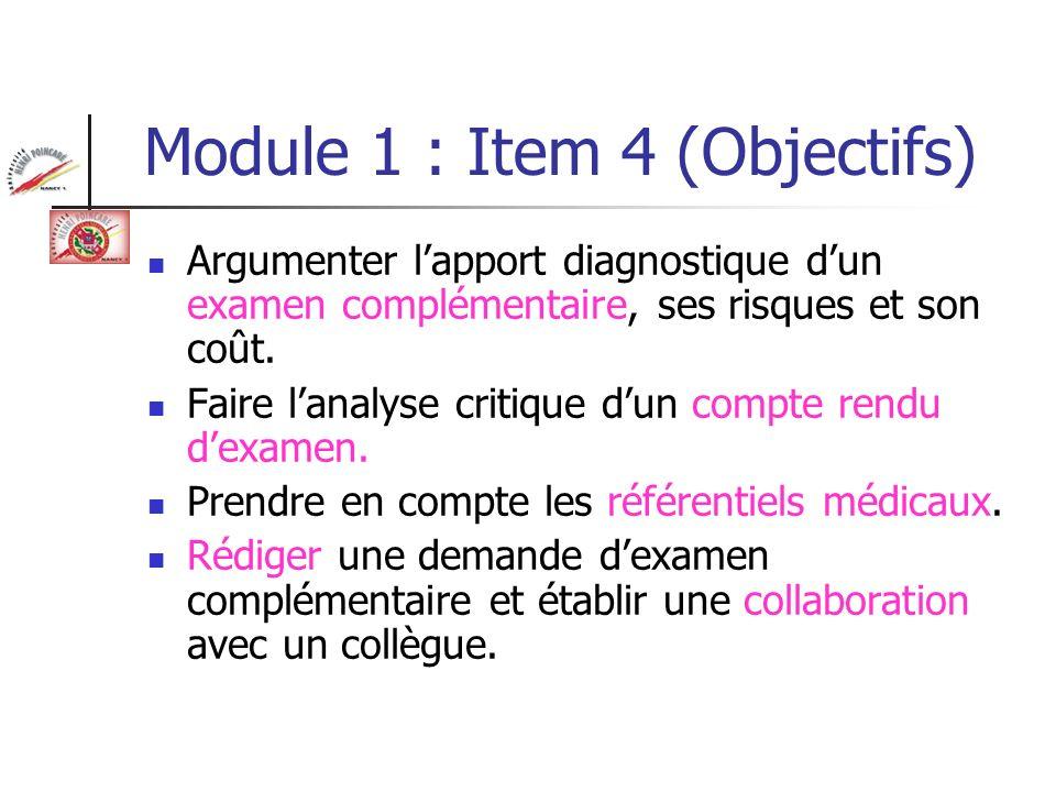 Module 1 : Item 4 (Objectifs)