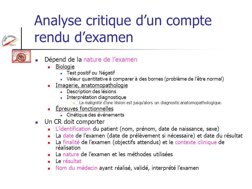 Analyse critique d'un compte rendu d'examen
