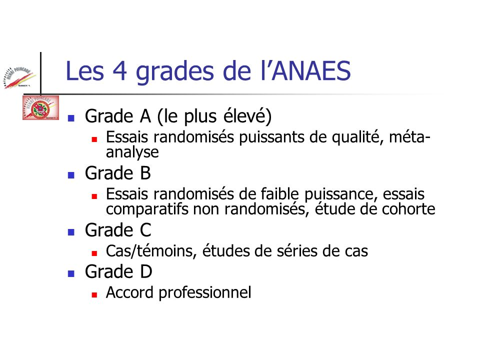 Les 4 grades de l'ANAES Grade A (le plus élevé) Grade B Grade C