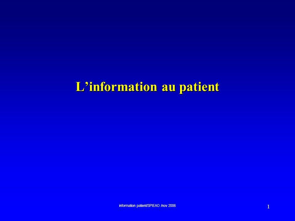 L'information au patient