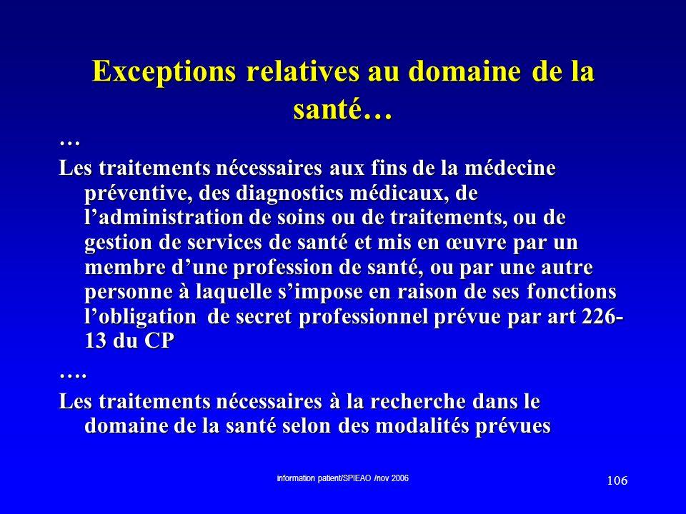 Exceptions relatives au domaine de la santé…