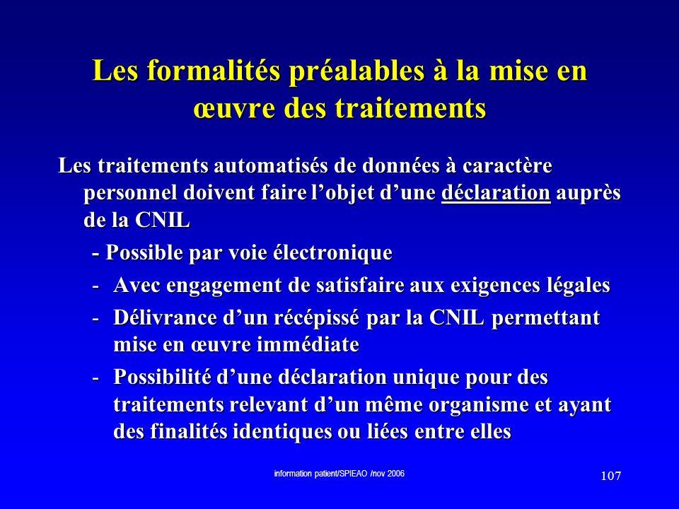 Les formalités préalables à la mise en œuvre des traitements