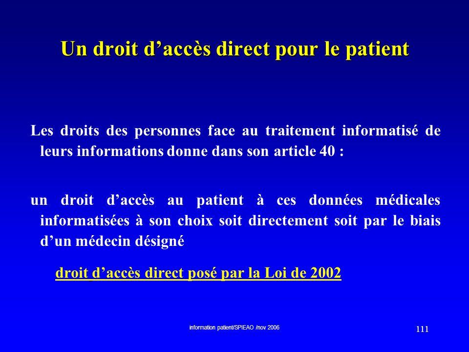 Un droit d'accès direct pour le patient