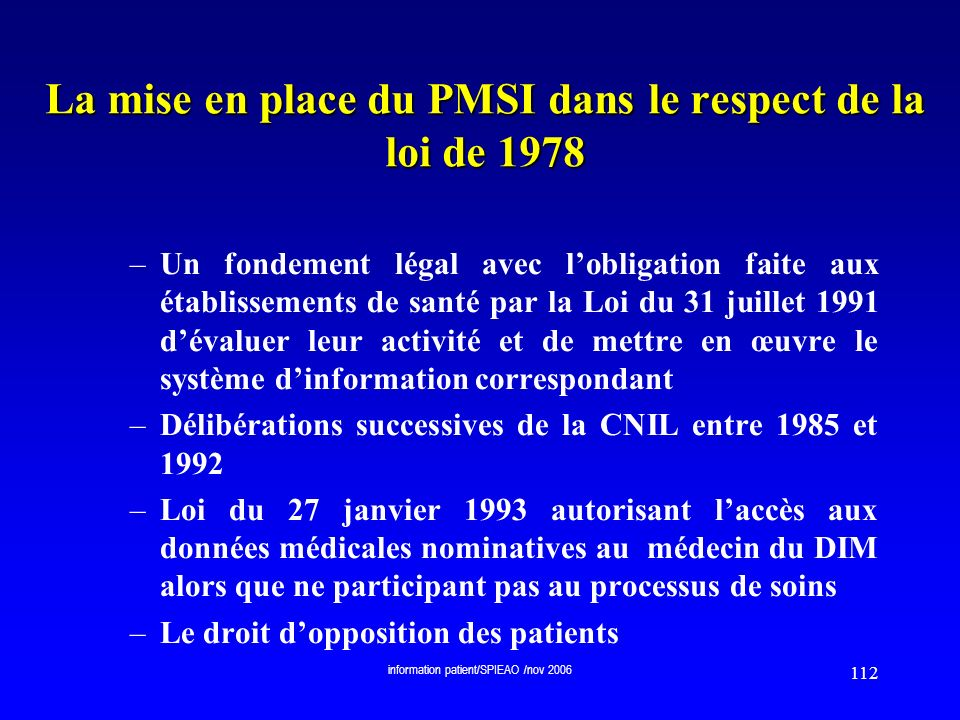 La mise en place du PMSI dans le respect de la loi de 1978