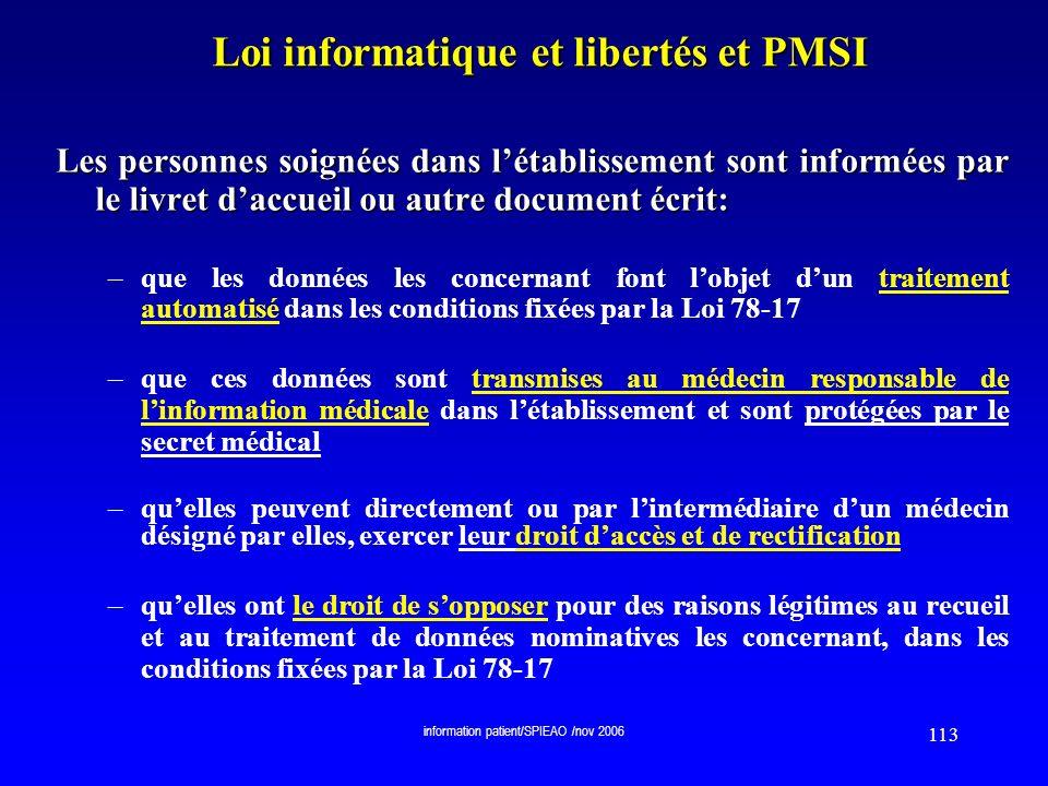 Loi informatique et libertés et PMSI