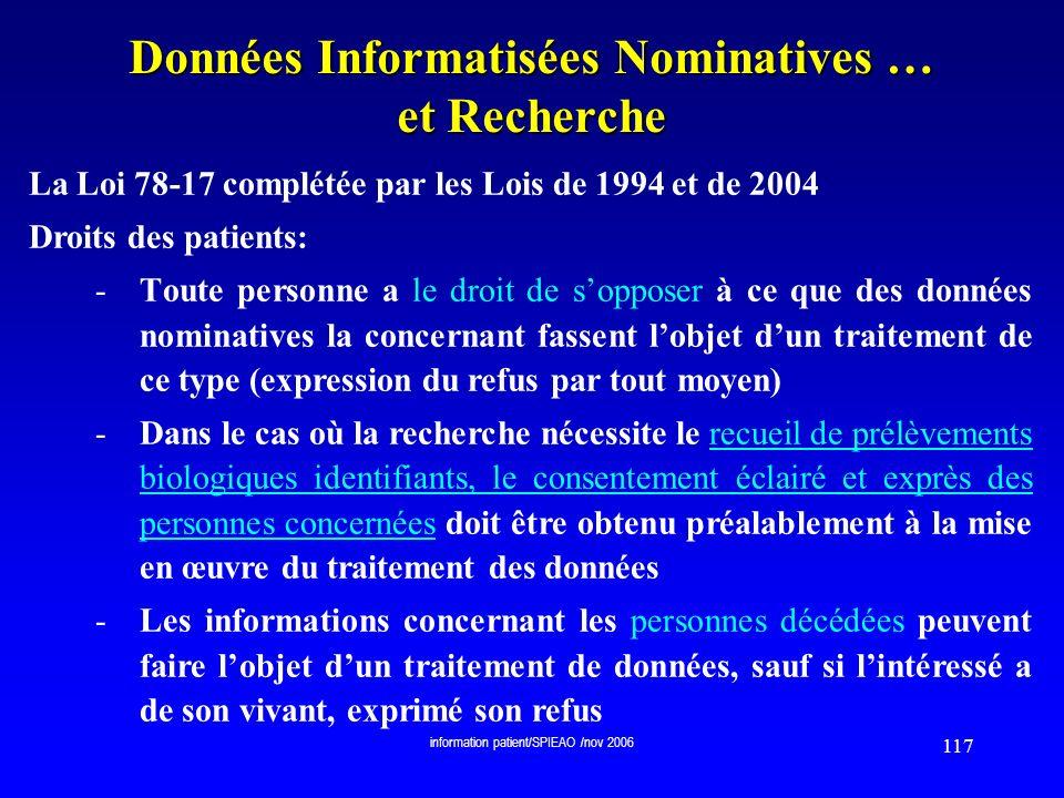 Données Informatisées Nominatives … et Recherche