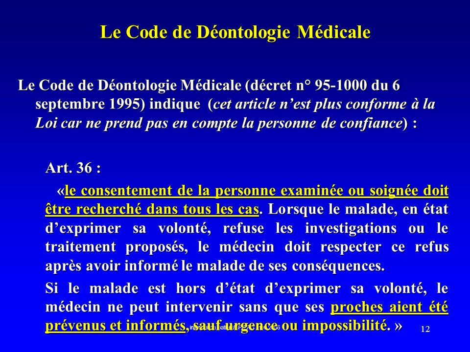 Le Code de Déontologie Médicale