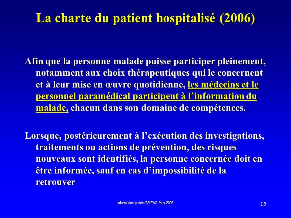 La charte du patient hospitalisé (2006)