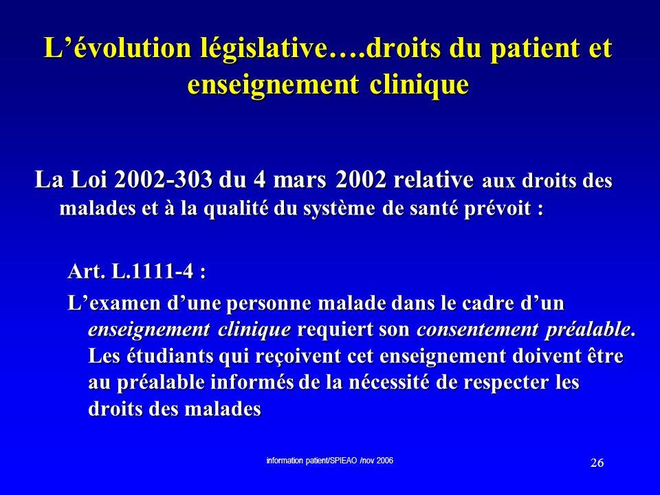 L'évolution législative….droits du patient et enseignement clinique