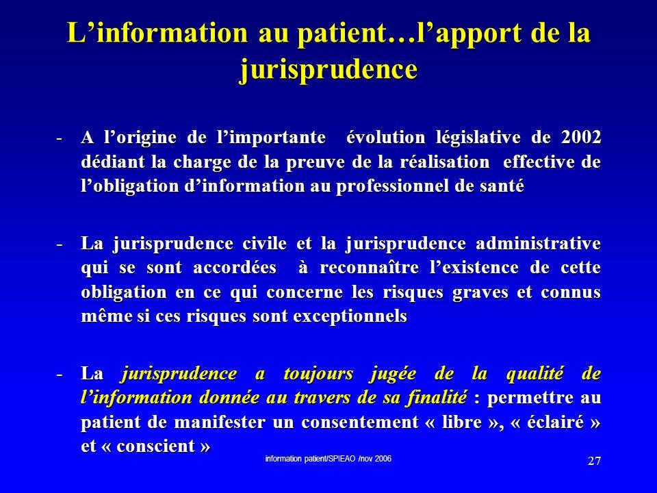 L'information au patient…l'apport de la jurisprudence