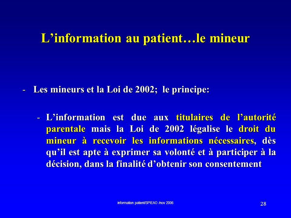 L'information au patient…le mineur