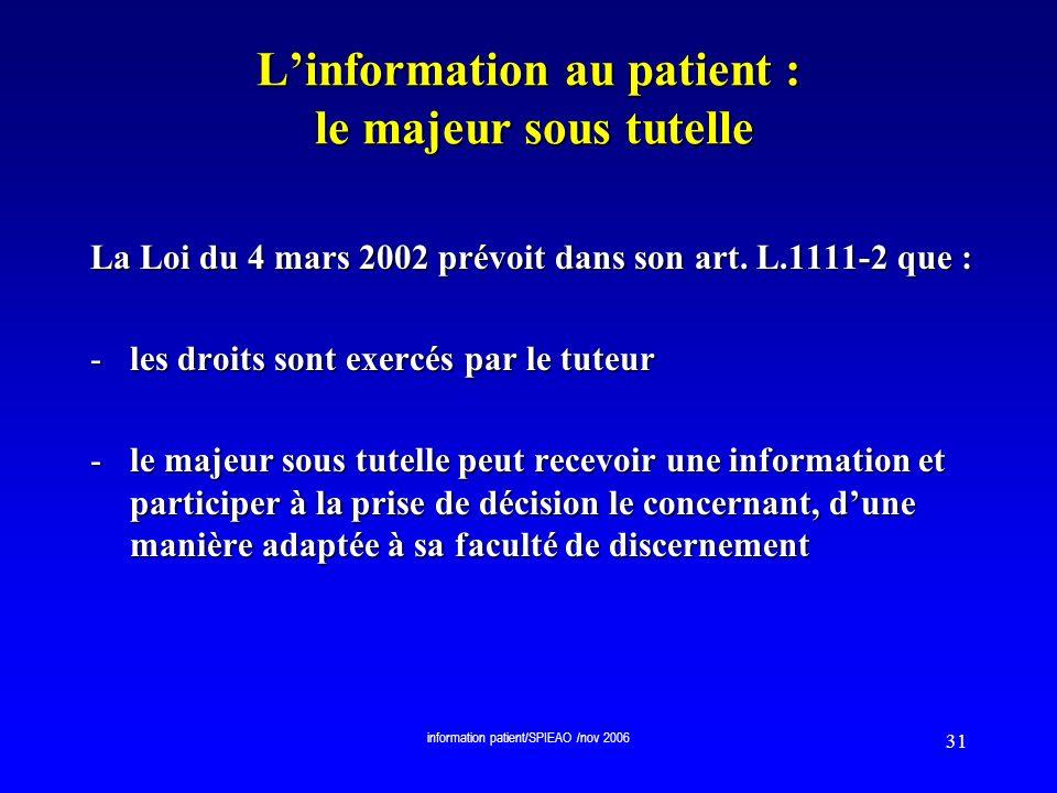 L'information au patient : le majeur sous tutelle