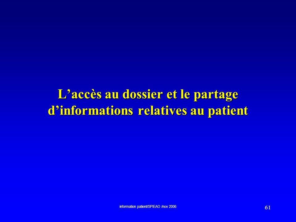 L'accès au dossier et le partage d'informations relatives au patient
