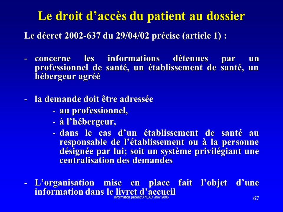 Le droit d'accès du patient au dossier