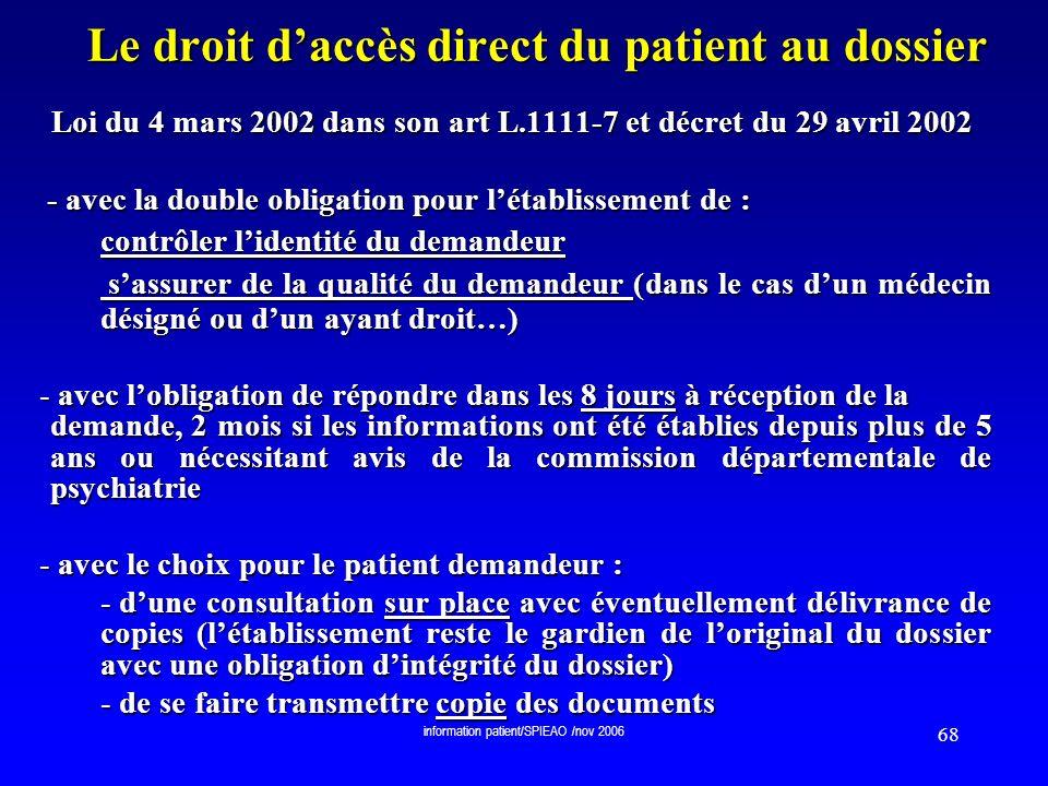 Le droit d'accès direct du patient au dossier