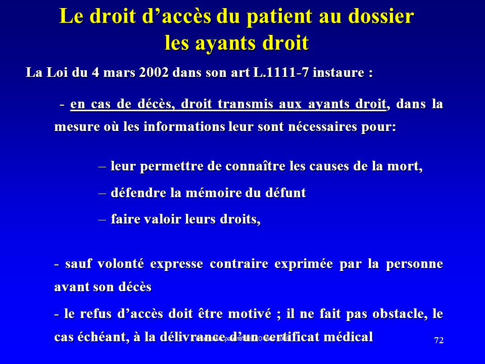 Le droit d'accès du patient au dossier les ayants droit