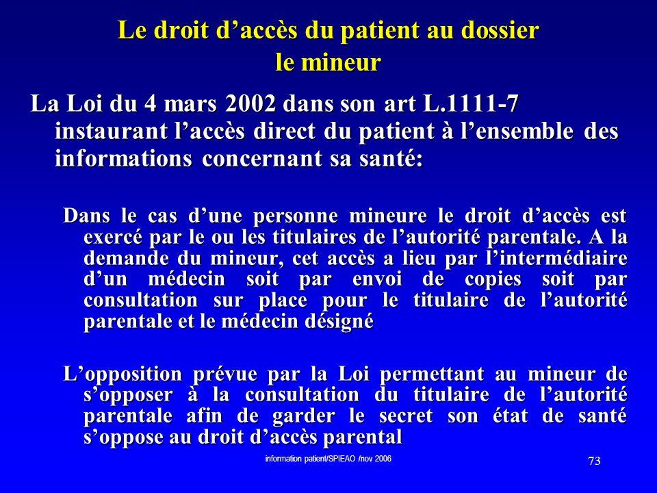 Le droit d'accès du patient au dossier le mineur