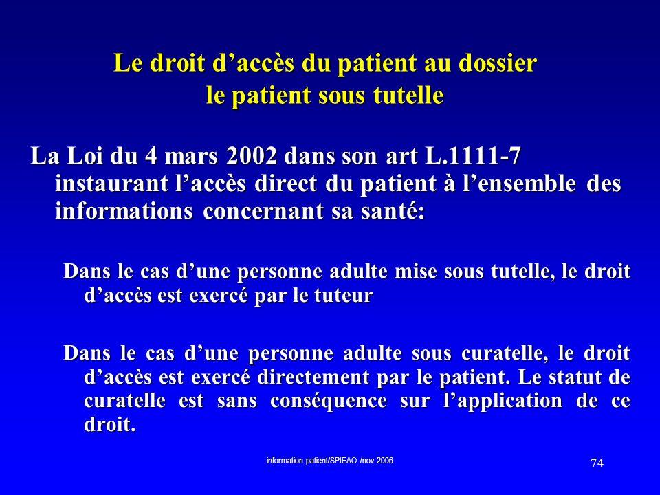 Le droit d'accès du patient au dossier le patient sous tutelle