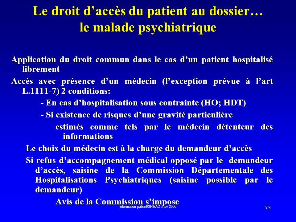 Le droit d'accès du patient au dossier… le malade psychiatrique