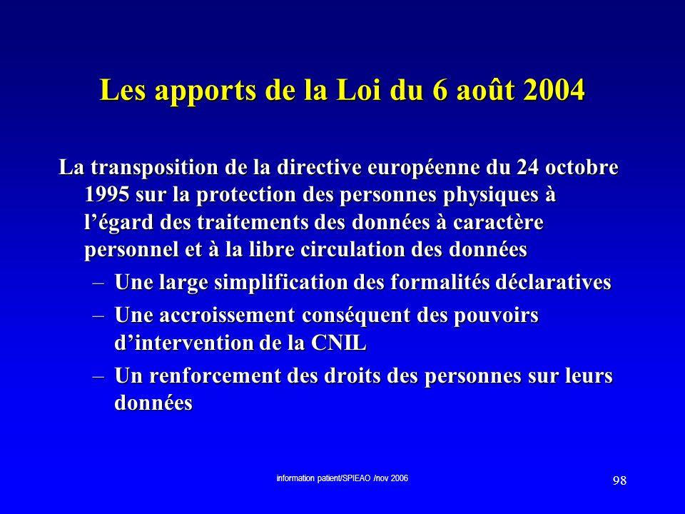 Les apports de la Loi du 6 août 2004