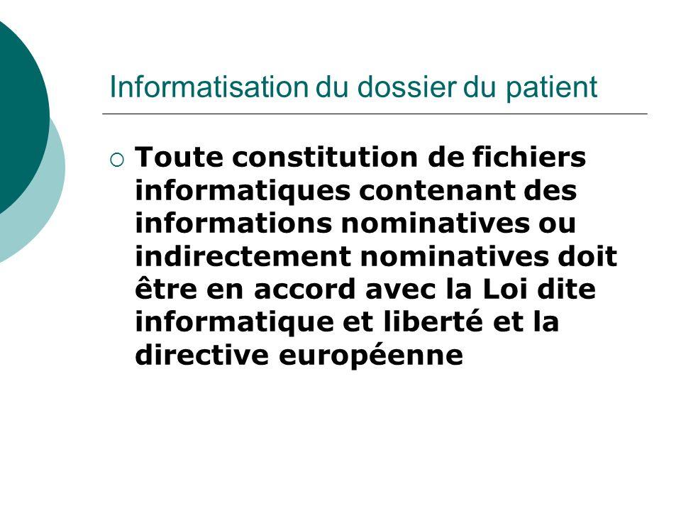 Informatisation du dossier du patient