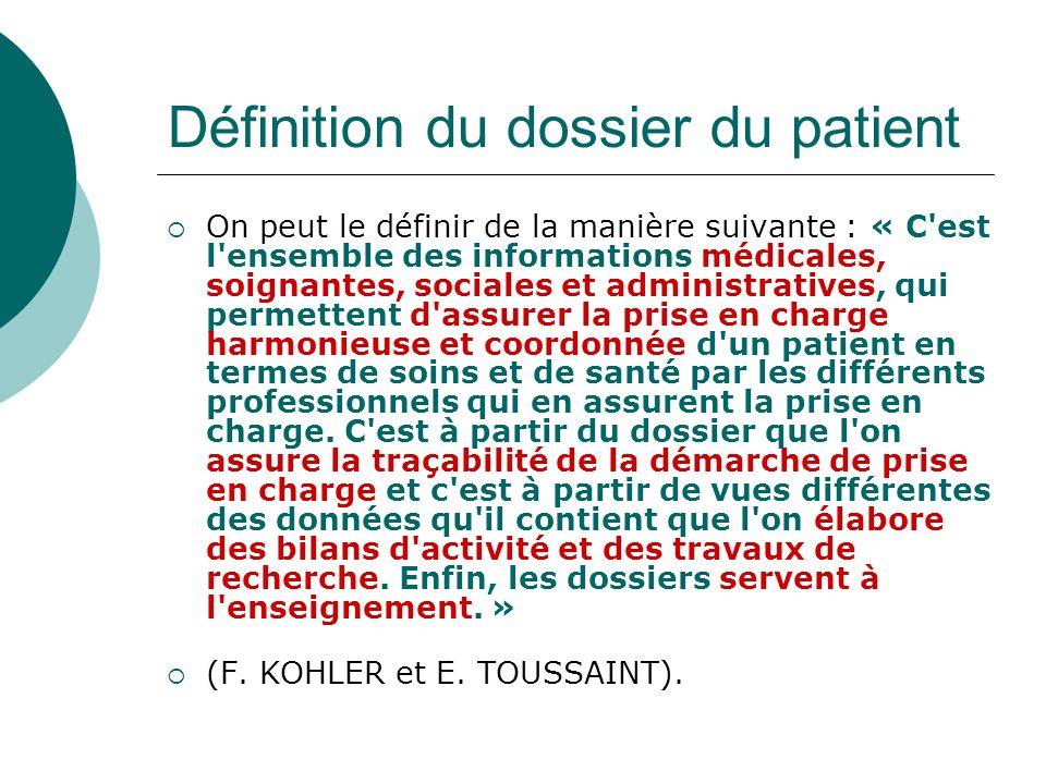 Définition du dossier du patient