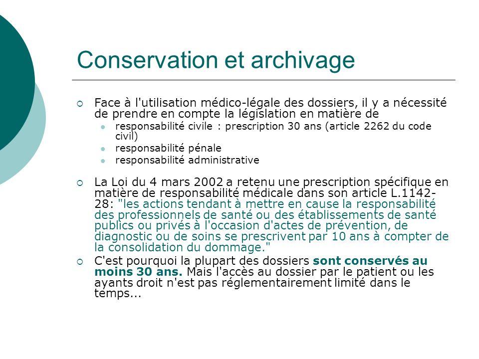 Conservation et archivage