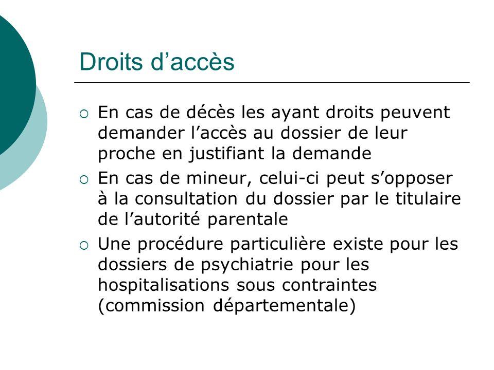 Droits d'accès En cas de décès les ayant droits peuvent demander l'accès au dossier de leur proche en justifiant la demande.