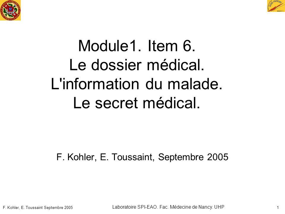 F. Kohler, E. Toussaint, Septembre 2005