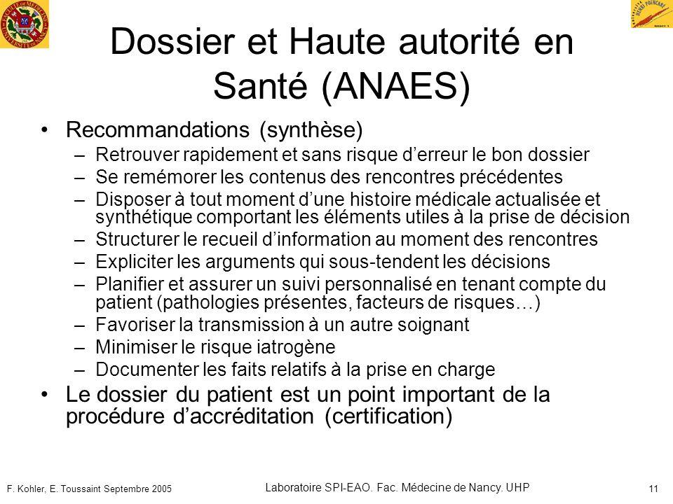 Dossier et Haute autorité en Santé (ANAES)