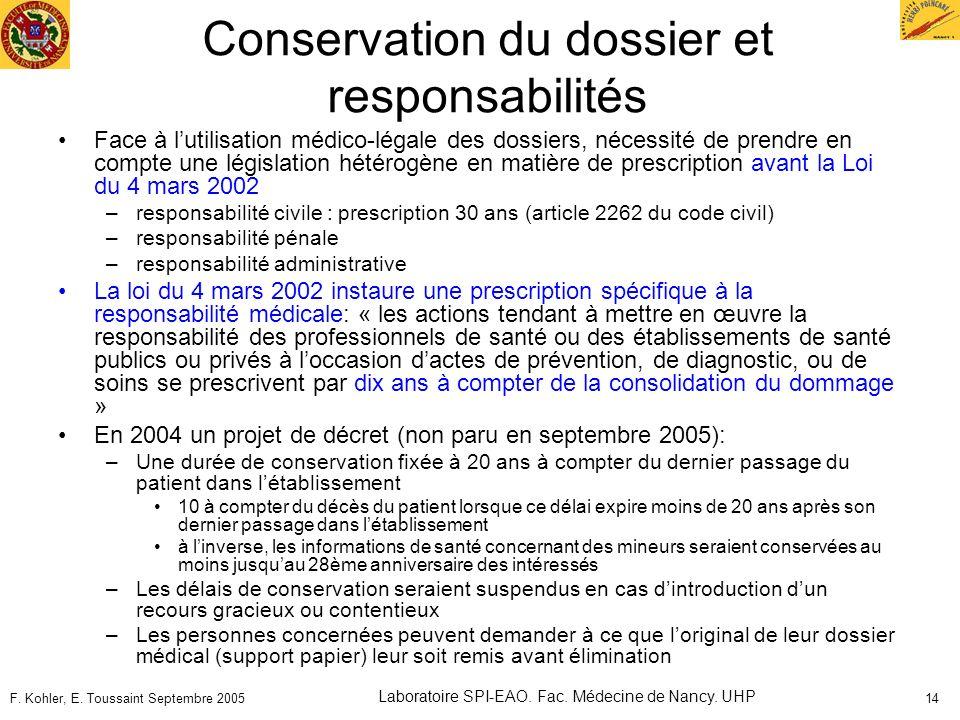Conservation du dossier et responsabilités