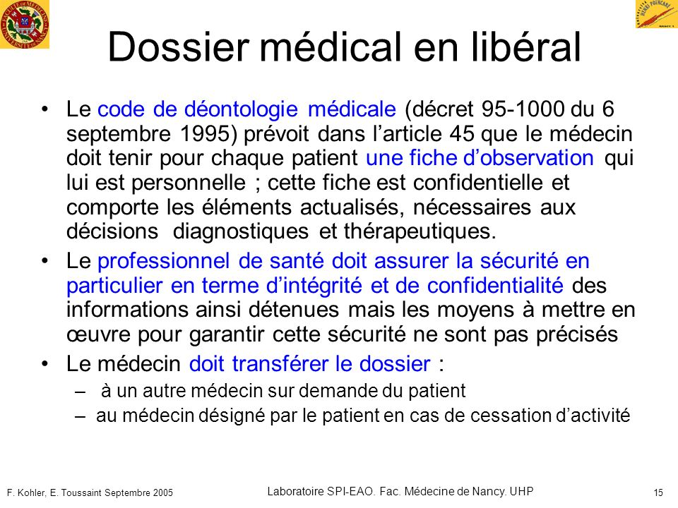 Dossier médical en libéral