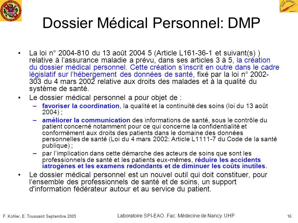 Dossier Médical Personnel: DMP