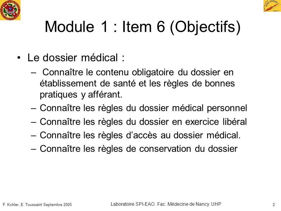 Module 1 : Item 6 (Objectifs)