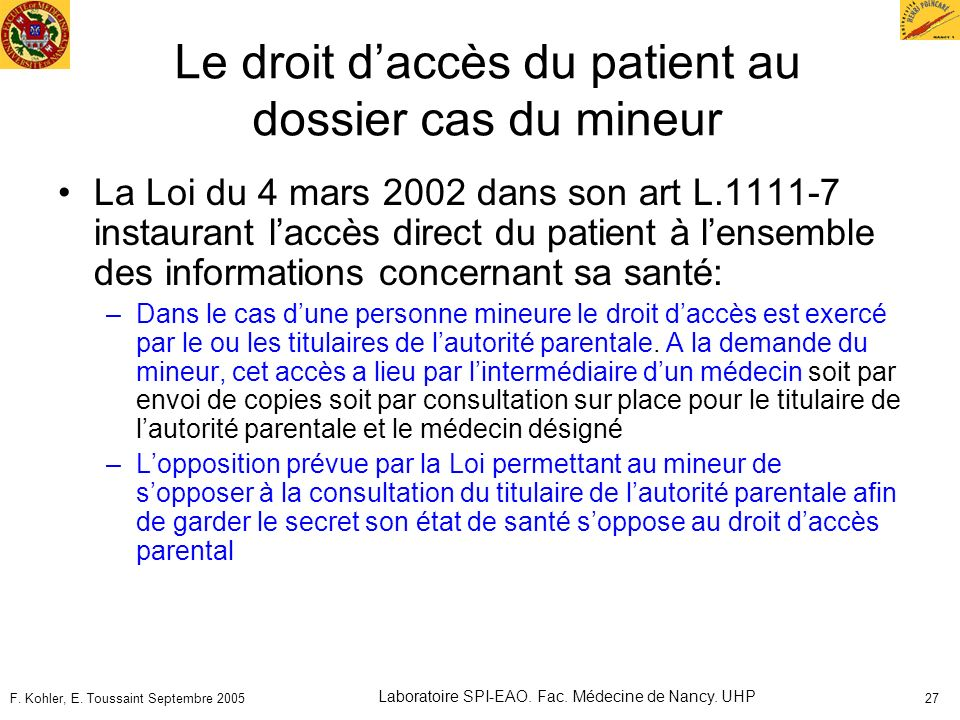 Le droit d'accès du patient au dossier cas du mineur