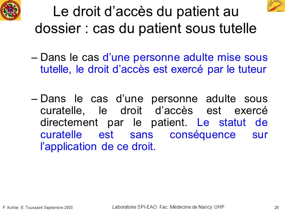 Le droit d'accès du patient au dossier : cas du patient sous tutelle