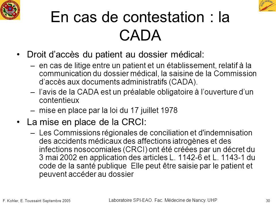 En cas de contestation : la CADA