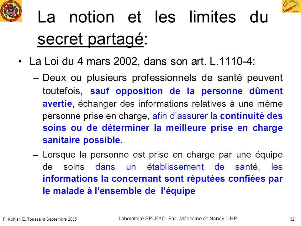 La notion et les limites du secret partagé: