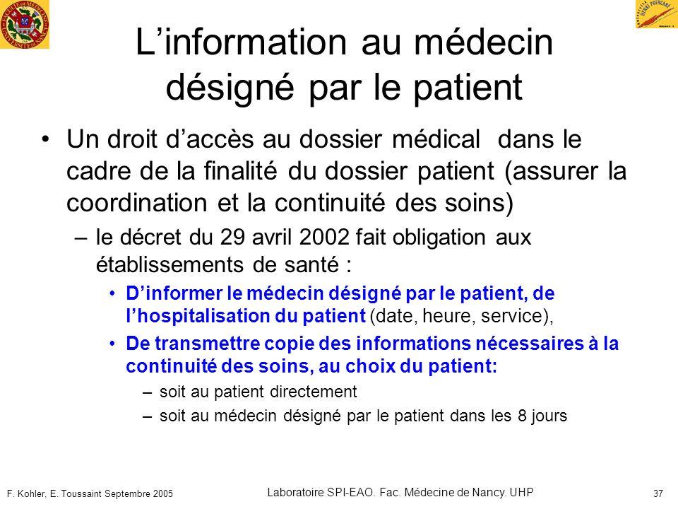 L'information au médecin désigné par le patient