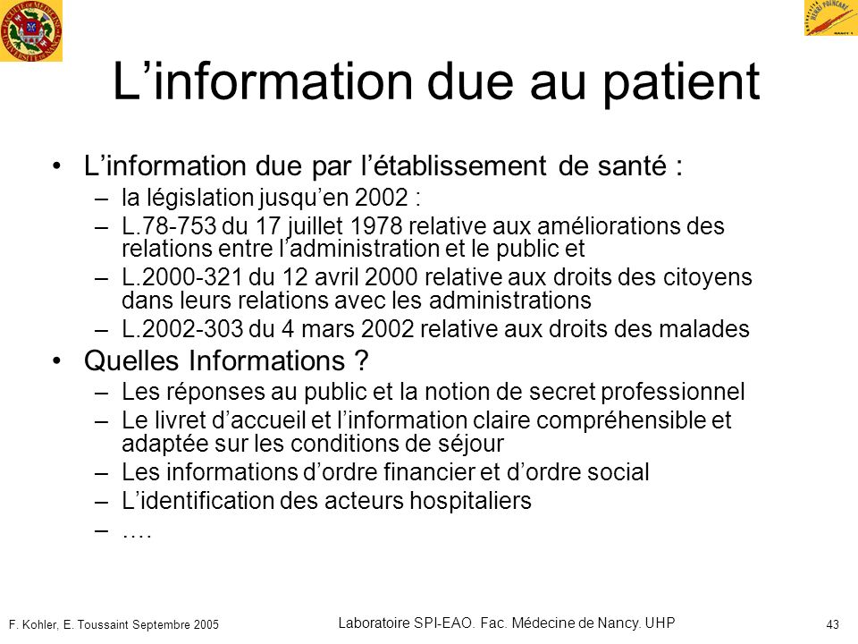 L'information due au patient